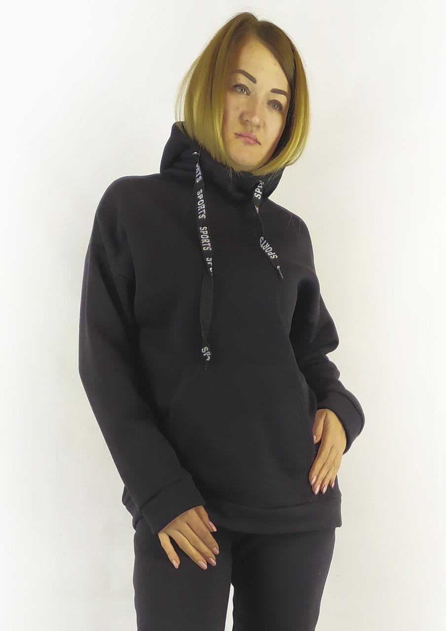 Женская худи черного цвета с капюшоном на каждый день S, M, L