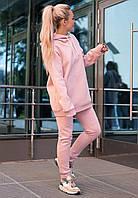 Спортивный костюм женский на флисе утепленный оверсайз цвет розовый