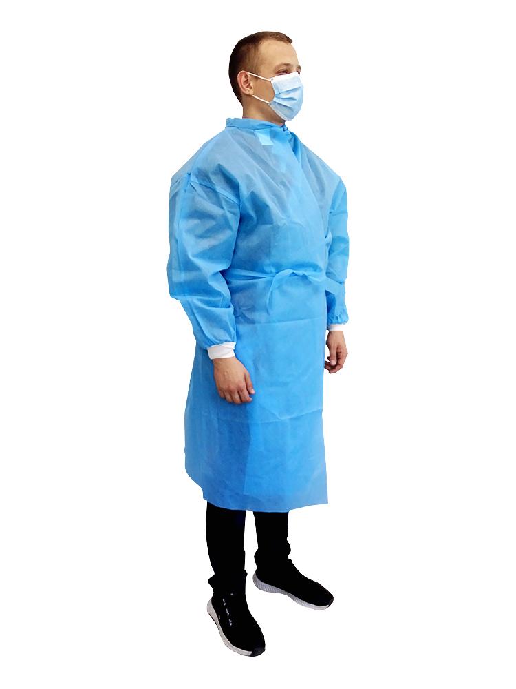 Халат медицинский (защитный) на завязках (размер 48-52 (L)) (спанбонд – 50 г / м2) не стерильный (шт.)