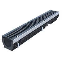 Усиленный пластиковый водосточный лоток 1м D100 H136 с чугунной щелевой решеткой (комплект) класс D
