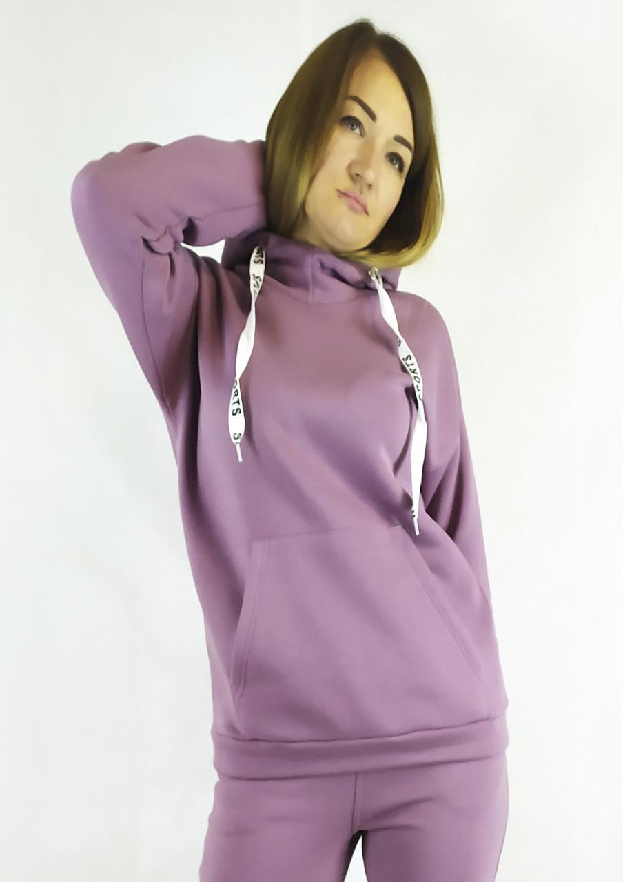 Женское худи фрезового цвета на флисе с капюшоном в размерах XL, XXL, 3XL