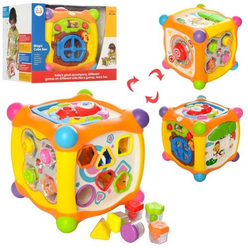 Музыкальная игра Hola Toys 936 Волшебный кубик, сортер, пищалка, трещетка