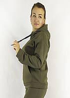 Женская флисовая кофта-худи в цвете хаки с карманами и капюшоном XL, XXL, 3XL, фото 1