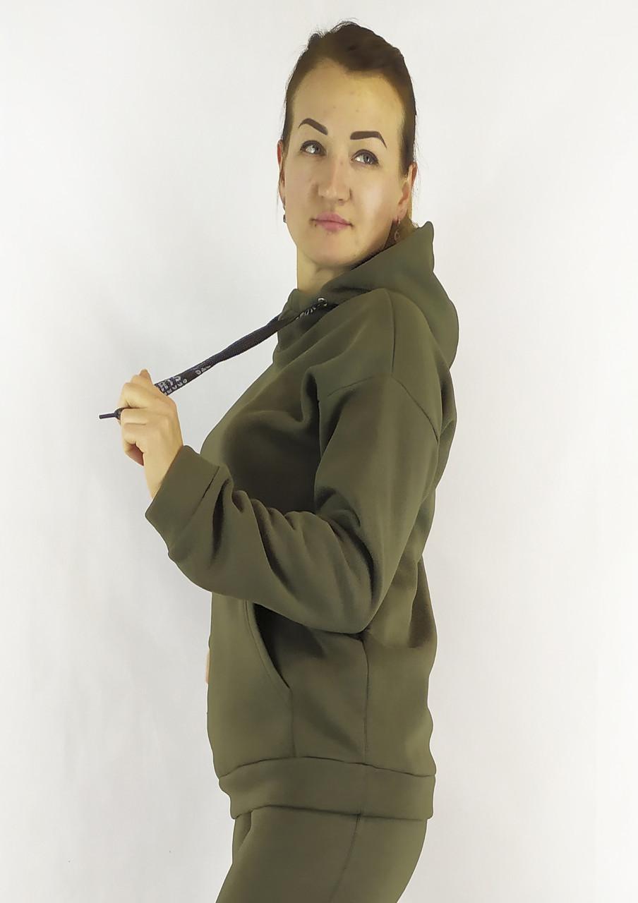 Женская флисовая кофта-худи в цвете хаки с карманами и капюшоном XL, XXL, 3XL