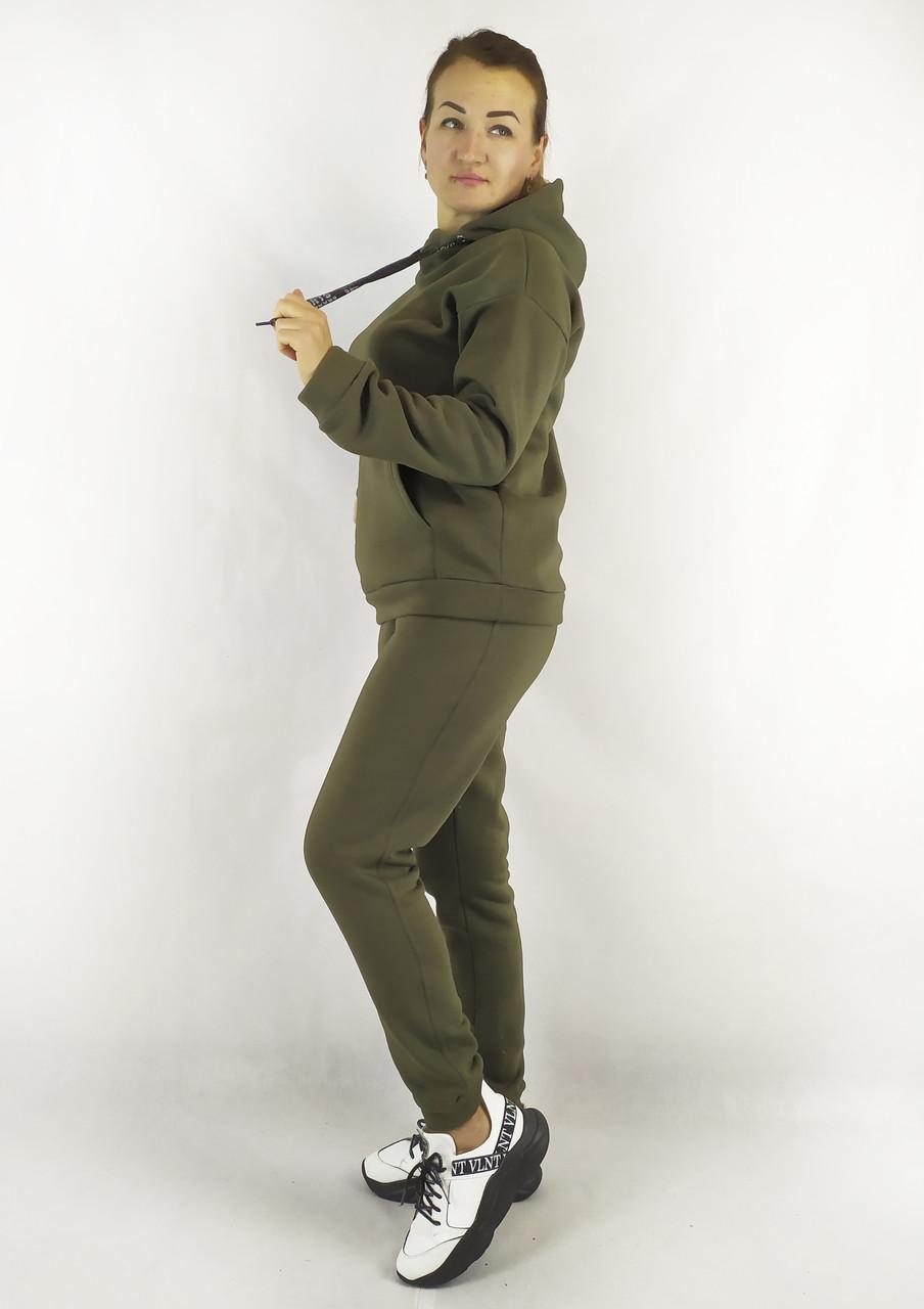 Женский теплый спортивный костюм из трикотажа с худи и брюками цвета хаки S, M, L
