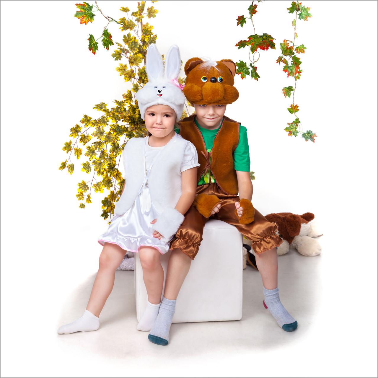 Мишка Детские новогодние костюмы белый и коричневый мишки