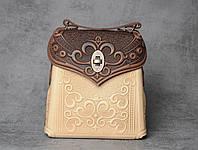 Кожаный коричнево-бежевый рюкзак ручной работы, сумочка-рюкзак с авторским тиснением, стиль бохо, фото 1