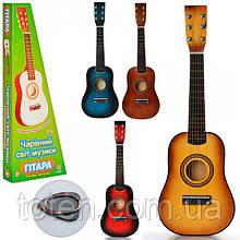 Гитара детская игровая M 1369  дерево, 58 см, струны 6 шт, запасная струна, медиатор, 4 цвета