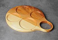 Деревянная тарелка, деревянный сервировочный поднос, поднос ручной работы, фото 1