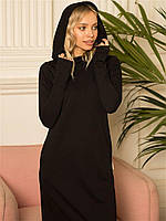 Женское теплое свободное платье с трехнитки цвет черный