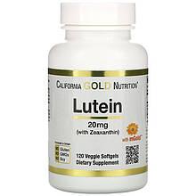 """Лютеїн з зеаксантином California Gold Nutrition """"with Lutein Zeaxanthin"""" для зору, 20 мг (120 капсул)"""