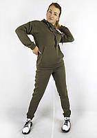 Теплый зимний женский спортивный костюм цвета хаки с толстовкой и брюками XL, XXL, 3XL, фото 1