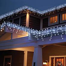 Новогодняя гирлянда уличная бахрома 3м светодиодная 100 LED огней удлиняемая - белый провод