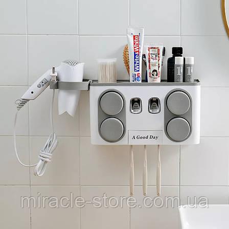 Дозатор зубной пасты автоматический держатель зубных щеток держатель фена, фото 2