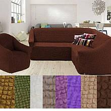 Натяжные чехлы на угловой диван и кресло турецкие без оборки жатка Коричневый Разные цвета