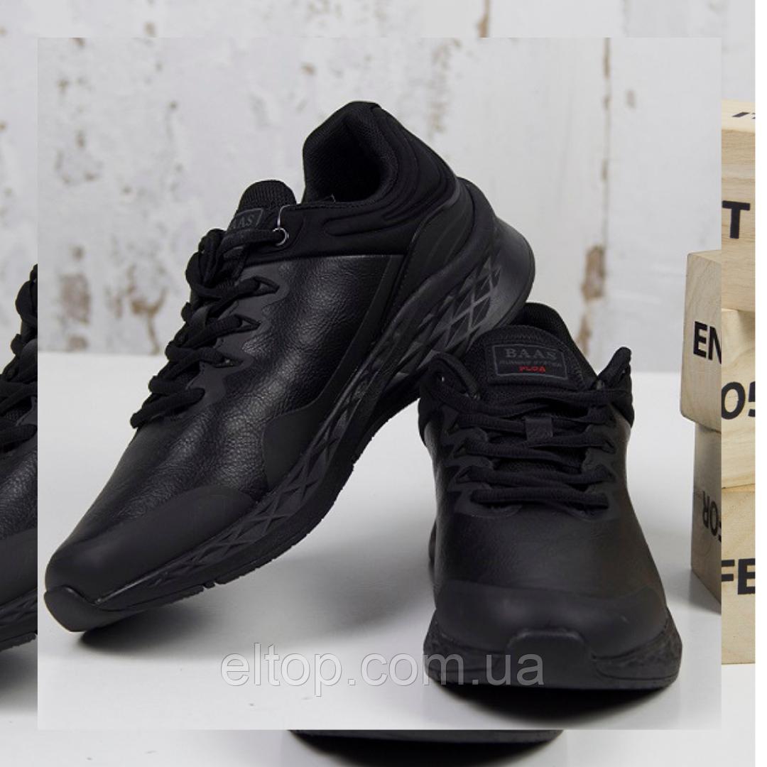 Стильные кроссовки мужские демисезонные черные BaaS Повседневные мужские кроссовки Размер 41-46