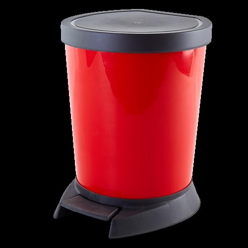 Ведро для мусора с педалью красное  10л