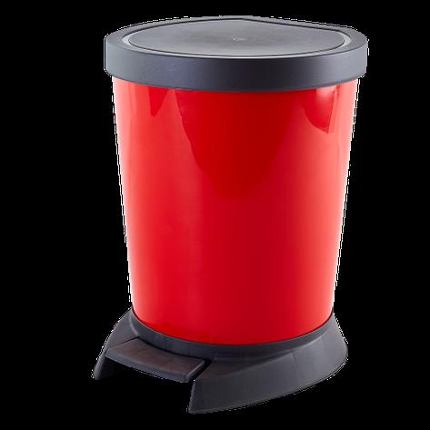 Ведро для мусора с педалью красное  10л, фото 2