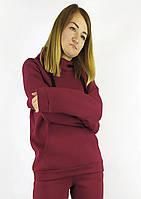 Яркая бордовая кофта-худые на флисе с капюшоном S, M, L, фото 1