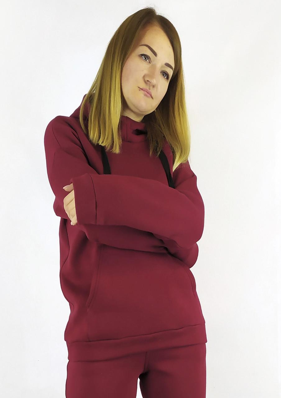 Яркая бордовая кофта-худые на флисе с капюшоном S, M, L
