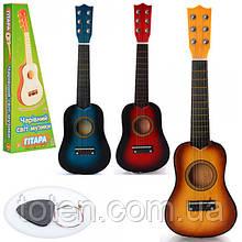 Гитара детская игровая M 1370  дерево, 52 см, струны 6 шт, запасная струна, медиатор, 3 цвета