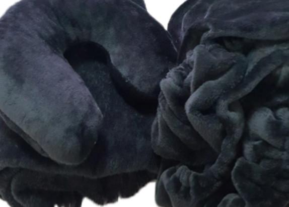 Плюшевый комплект на кушетку, Черный (чехол+подголовник+плед)