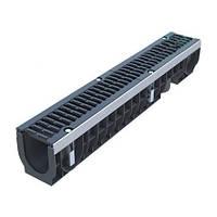 Усиленный пластиковый водосточный лоток 1м D100 H171 с чугунной щелевой решеткой (комплект) класс D