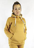 Тепла яркая горчичная женская кофта на флисе с капюшоном S, M, L в молодежном стиле