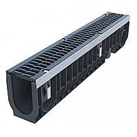 Глубокий усиленный пластиковый водосточный лоток 1м D100 H216 с чугунной щелевой решеткой (комплект) класс D