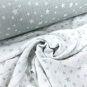 Ткань муслин жатый четырехслойный (двухсторонний), звездочки цвет мятно-белый (шир. 1,3м)