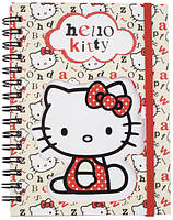 Блокнот вырубка на обложке Hello Kitty Kite,  металлическая спираль, 80 листов, А6