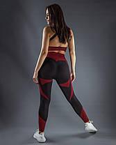 """Женские лосины для фитнеса """"Черные/Красные"""", фото 2"""