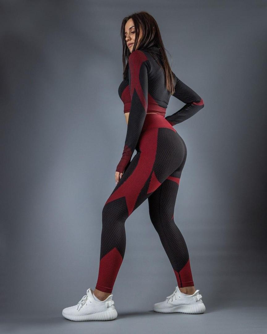 """Женские лосины для фитнеса """"Черные/Красные"""""""