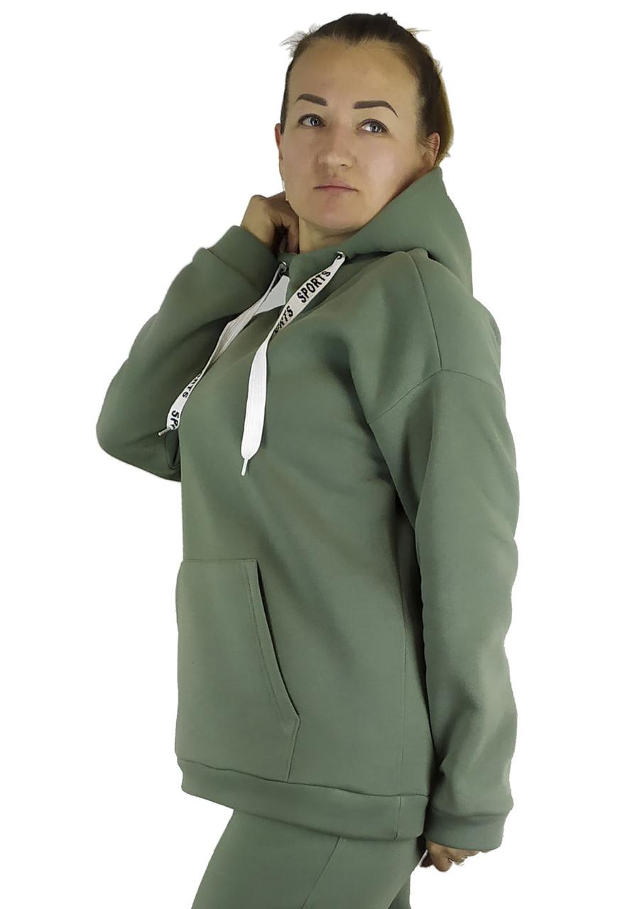 Приталенная женская кофта-толстовка оливкового цвета на флисе с капюшоном под горло XL, XXL, 3XL