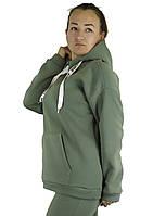 Приталенная женская кофта-толстовка оливкового цвета на флисе с капюшоном под горло XL, XXL, 3XL, фото 1