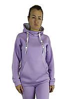 Яркая женская кофта-худи сиреневого цвета с капюшоном под горло утепленная флисом S, M, L