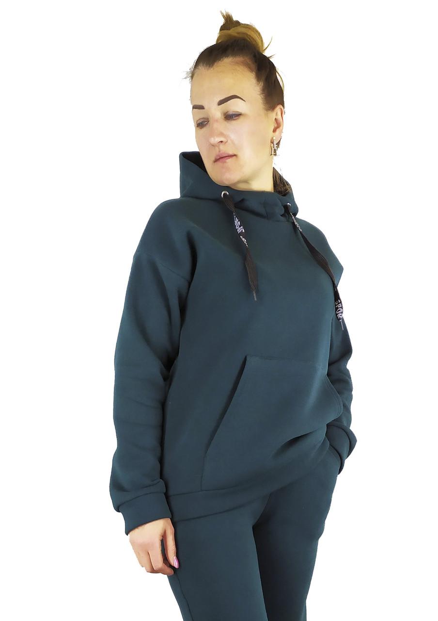 Повседневная женская кофта-худи изумрудного цвета на флисе с капюшоном под горло S, M, L