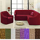 Натяжные чехлы на угловой диван и кресло турецкие без оборки жатка Коричневый Разные цвета, фото 4