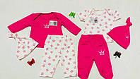 Комплект для девочки: футболочка, реглан, штанишки, ползуны и шапочки, интерлок (р.62)