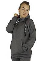 Теплая женская зимняя кофта-худи серого цвета на флисе с капюшоном XL, XXL, 3XL, фото 1