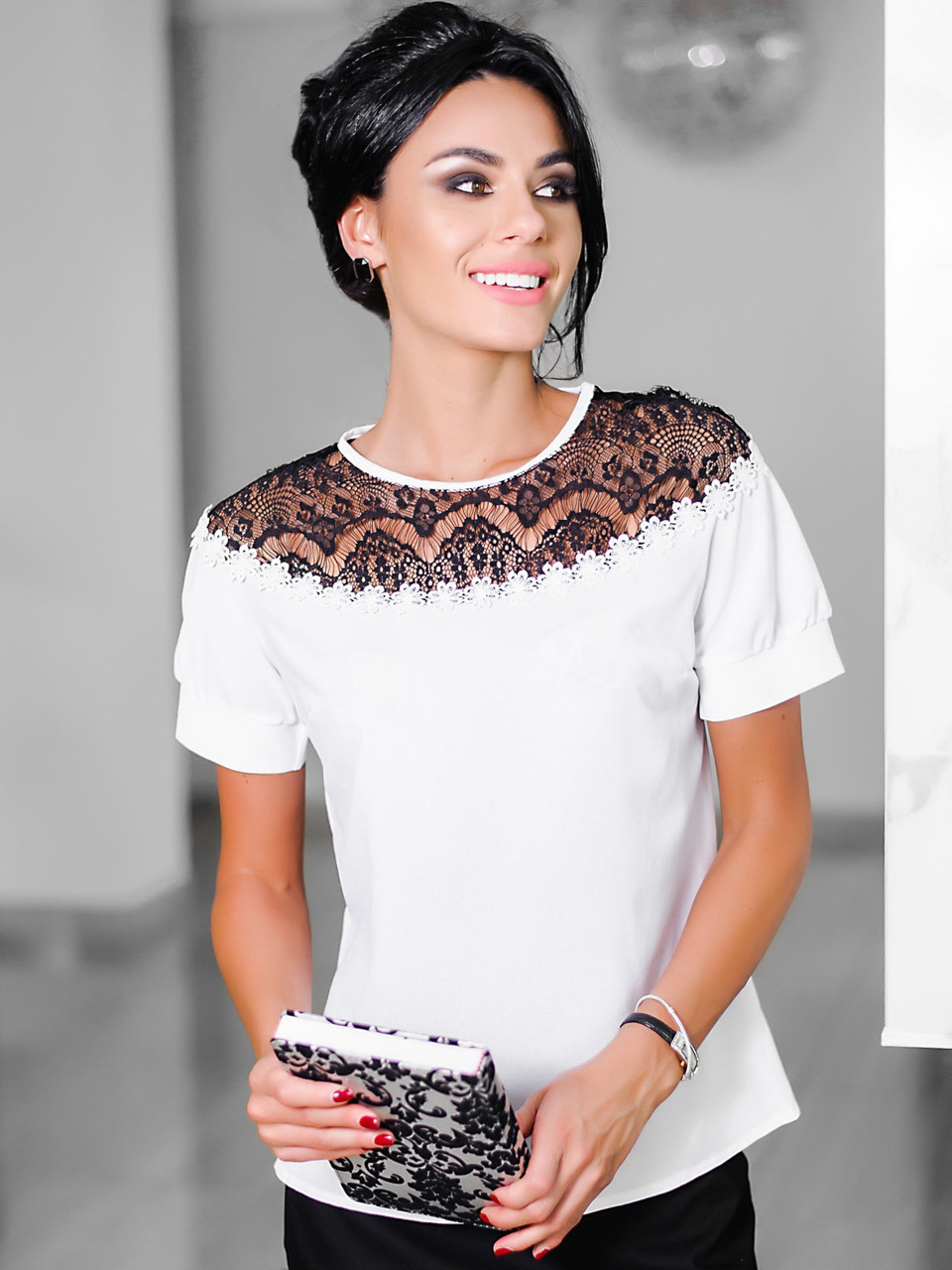 S, M, L, XL | Жіноча вечірня блузка Isida, білий