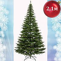Елка искусственная зеленая литая Ковалевская 2,10 м (210см) елка литая, елка зеленая премиум класса