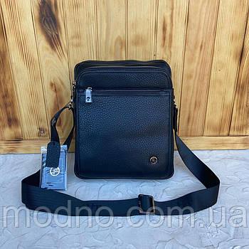 Мужская кожаная удобная сумка на и через плечо на три отделения H.T. Leather