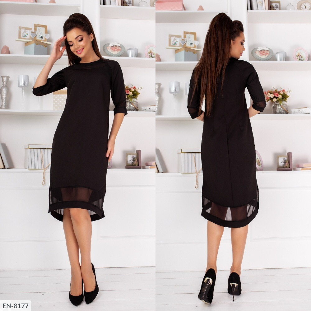 Свободное платье с шифоновыми вставками, №268, чёрный, 42-46р.