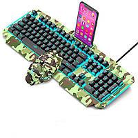 Клавиатура компьютерная игровая с подсветкой V200 +мышка (с подставкой для телефона)