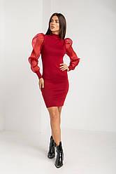 Стильное приталенное платье с шифоновым рукавом в 4 цветах в универсальном размере на 40-46