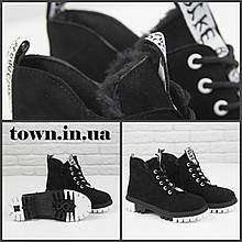 Черные женские ботинки  на массивной подошве Loretta Y203-1 black на шнуровке ,на осень-зиму. 36 - 41 р.