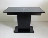 Стіл в сучасному стилі розкладний зі скляною стільницею Готьє Eurostek, колір чорний