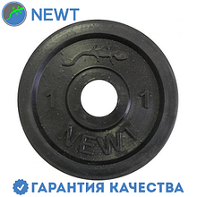 Диск стальной обрезиненный Newt Home 1 кг, диаметр - 28 мм