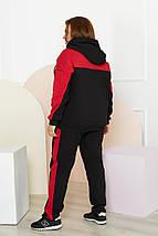 """Теплый женский спортивный костюм """"NK"""" с капюшоном и лампасами (большие размеры), фото 3"""